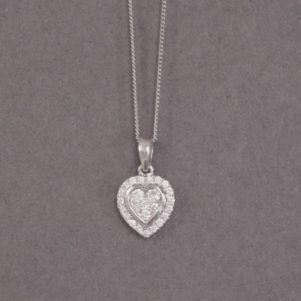 diamond heart cluster necklace