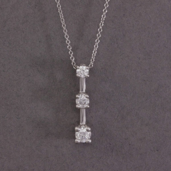 three stone drop diamond pendant